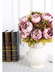 Недорогие -1 ветка шелковые пионы настольный цветок искусственные цветы домашнее украшение