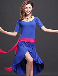 cheap -Belly Dance Dresses Women's Performance Polyester Half Sleeves High Dress Hip Scarf