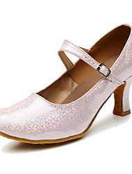 Недорогие -Для женщин Танцевальные кроссовки Синтетика На каблуках Для закрытой площадки Каблуки на заказ Золотой Серебряный Серый Красный 6,5 см
