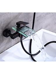 abordables -Robinet de baignoire - Moderne Bronze huilé Set de centre Soupape céramique