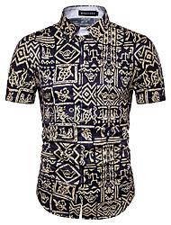 Недорогие -Для мужчин Пляж  Праздники Большие размеры Лето Рубашка Рубашечный воротник,Богемный С принтом Контрастных цветов С короткими рукавами,