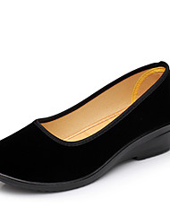 Women's Shoes Fabric Summer Comfort Flats Low Heel For Casual Black