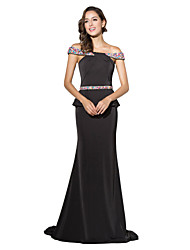 Mermaid / Trumpet Off-the-shoulder Court Train Jersey Formal Evening Dress with Beading by Sarahbridal