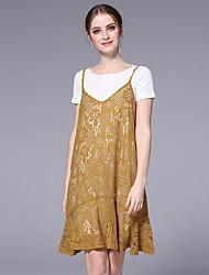 T-shirt Vestiti Completi abbigliamento Da donna Per uscire Casual DivertenteFantasia floreale Rotonda Di pizzo Mezze maniche strenchy