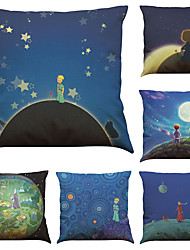 Set of 6 The Little Prince  Pattern Linen Pillowcase Sofa Home Decor Cushion Cover  Throw Pillow Case (18*18inch)