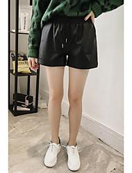 Feminino Simples Cintura Alta Micro-Elástica Shorts Calças,Solto Cor Única