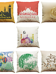 cheap -Set of 7 SIslamic Muslims Pattern Linen  Cushion Cover Home Office Sofa Square  Pillow Case Decorative Cushion Covers Pillowcases As a Gift