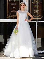 cheap -Ball Gown Jewel Neck Floor Length Tulle Wedding Dress with Beading Appliques by LAN TING BRIDE®