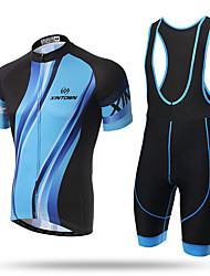 cheap -XINTOWN Cycling Jersey with Bib Shorts Men's Short Sleeves Bike Jersey Bib Tights Quick Dry Front Zipper Breathable Soft Compression 3D