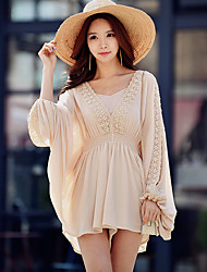 DABUWAWA Women's High Rise Beach Going out Holiday JumpsuitsVintage Boho Street chic Loose Lace Cut Out Solid