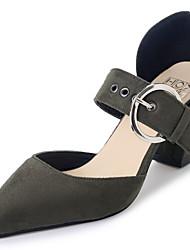 Feminino Sandálias Conforto Cashmere Verão Casual Caminhada Conforto Cadarço Salto Baixo Preto Verde Tropa Khaki 7,5 a 9,5 cm