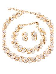 Jewelry Set Imitation Pearl Euramerican Fashion Zinc Alloy Geometric 1 Necklace 1 Pair of Earrings 1 Bracelet ForWedding Party