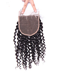 cheap -Mongolian Kinky Curly Lace Closure Free/Middle/Three Part Remy Hair 4*4 Natural Color From 10 To 18 Inch Lace Human Closure