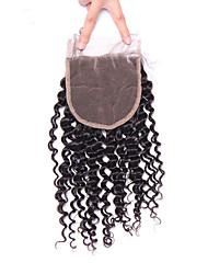 abordables -Fermeture à lacets bouclés mongol et bouclés avec fermeture éclair libre / moyen / trois parties cheveux remy 4 * 4 couleurs naturelles de