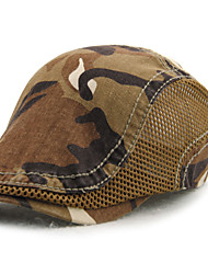 Men's Cotton Beret Hat Peaked Cap Vintage Casual Camouflage Print Summer All Seasons Black/Grey/Blue/Orange/Brown