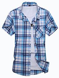 Camicia Da uomo Feste Compleanno Da sera Per uscire Taglie forti Vintage Moda città Primavera Estate,A quadri Colletto Mao CotoneManica