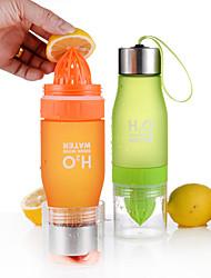 Недорогие -Бутылка для воды с ситом для фруктов 650 ml Пластик ПК Портативные Многофункциональный для Отдых и Туризм Восхождение Пляж  Черный Зеленый Белый Оранжевый Желтый