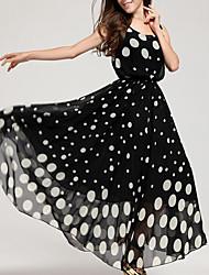 Women's Plus Size Beach Simple Swing Dress,Polka Dot Round Neck Maxi Sleeveless Acrylic Summer Mid Rise Inelastic Medium