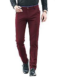 Da uomo A vita medio-alta Semplice Media elasticità Lavoro Pantaloni,Largo Tinta unita