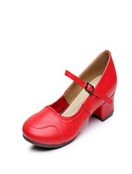 """Women's Latin Leather Split Sole Indoor Buckle Stitching Lace Low Heel Red 1"""" - 1 3/4"""" Non Customizable"""