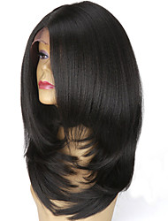 cheap -Short Bob Synthetic Lace Front Wigs L Part Layered Italian Yaki Straight Wig Heat Resistant For Women