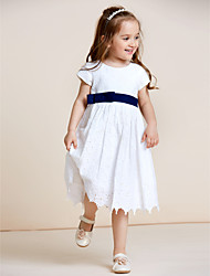 A-Line Knee Length Flower Girl Dress - Cotton Short Sleeves Jewel Neck with Bow(s) Lace by thstylee