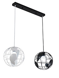 cheap -20cm Vintage Creative Terrestrial globe Pendant Lights 2-Head Loft Creative Industrial Lamp For Living Room Restaurant Bars Clothing Store decoration