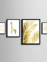 cheap -E-HOME® Framed Canvas Art   Simple Gold Animals And Plants Theme Series Framed Canvas Print One Pcs