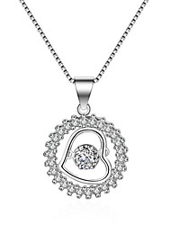 cheap -Women's AAA Cubic Zirconia Silver Plated Pendant Necklace  -  Heart Geometric Silver Necklace For Birthday Gift Valentine