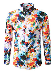 Men's Going out Beach Holiday Simple Active Spring Fall Shirt,Print Rainbow Classic Collar Long Sleeve Cotton Polyester Medium