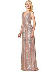 cheap -Mermaid / Trumpet V-neck Floor Length Sequined Formal Evening Dress with Sequins by Sarahbridal