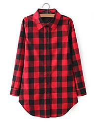 Feminino Camisa Casual Simples Verão,Quadriculada Vermelho / Preto Algodão Colarinho Chinês Manga Longa Fina