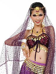 abordables -Danza del Vientre Auriculares Con Micrófono Mujer Representación Metal 6 Piezas Collar Tocados Pulseras