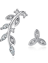 cheap -Women's AAA Cubic Zirconia Stud Earrings - Sterling Silver Leaf Personalized Silver For Wedding / Party / Daily
