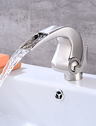 cheap -Antique Art Deco/Retro Traditional Centerset Pre Rinse Widespread Ceramic Valve Single Handle One Hole Nickel Brushed, Bathroom Sink
