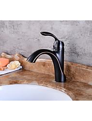 Moderna Conjunto Central Separada Válvula Cerâmica Monocomando e Uma Abertura Bronze Polido a Óleo , Torneira pia do banheiro