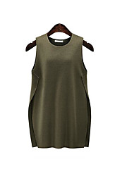 Women's Going out A Line Dress,Solid Round Neck Knee-length Sleeveless Wool Spring Mid Rise Micro-elastic Medium