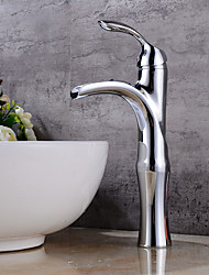 Chrome Tall Single Handle Lever Bathroom Sink Vessel Faucet