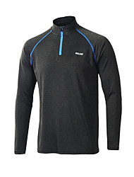 Arsuxeo Men's Running T-Shirt Long Sleeves Front Zipper Breathable Soft Lightweight Materials Reduces Chafing Stretch Sweat-wicking