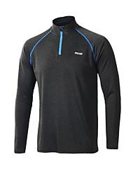 Arsuxeo Per uomo T-shirt da corsa Manica lunga Zip anteriore Traspirante Morbido Materiali leggeri Sfregamento ridotto Elasticizzato