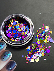 1Bottle Glitter Colorful Fashion Nail Art Laser Glitter Round Paillette Slice Decoration For 3D Nail Art Beauty P4