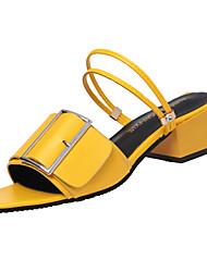 Women's Sandals Summer Gladiator Pigskin Outdoor Chunky Heel Buckle Yellow Black White Walking