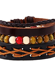 cheap -Europe And The United States Wind Back Woven Leather Hand Rope Bracelet