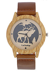 cheap -Top brand Men's Bamboo Wooden Bamboo Watch Quartz Leather Strap Men Watches