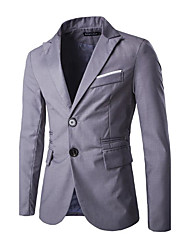 cheap -Men's Cotton Blazer - Color Block Peaked Lapel