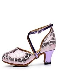 "Women's Latin Leather Heel Indoor Buckle Cuban Heel Purple 2"" - 2 3/4"" Non Customizable"
