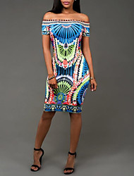 cheap -Women's Vintage Street chic Bodycon Sheath Dress Print High Rise Strapless