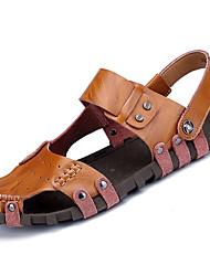 cheap -Men's Loafers & Slip-Ons Spring Fall Comfort Cowhide Casual Flat Heel Stitching  Light Brown Dark Blue Black Walking