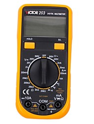 Victor® VICTOR203 Auto-Ranging Digital Multimeter AC Voltage Detector Pocket Ohm / Volt Test Meter Home Use Electronic with Backlight LCD Display