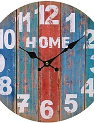 cheap -Antique / Casual / Country Wood Round Indoor,Battery Wall Clock